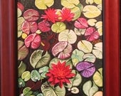 Red Lotus Water Lilies Giclee Canvas 14x11