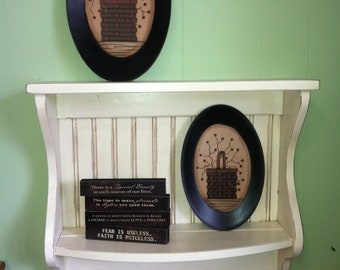 Plate Rack and Wood Primitive Country Shelf and Plate Display Antiqued White