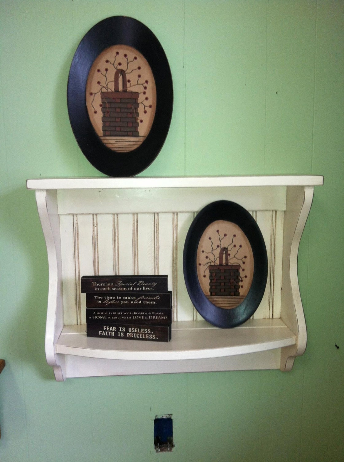 Plate Rack And Wood Primitive Country Shelf And Plate Display
