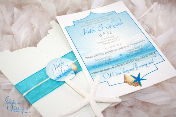 beach bridal shower invitation  serene  beach  escape, Bridal shower invitations