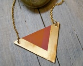 Hand painted triangle necklace - pink and coral red