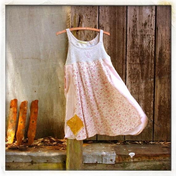 upcycled S M L mori girl Tunic babydoll Dress funky Bohemian