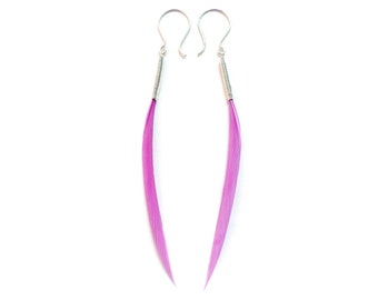 Small Minimalist Feather Earrings in Light Dusty Pink