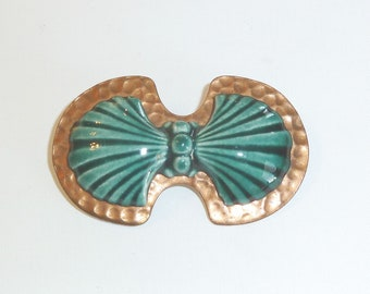Vintage Copper and Porcelain Bow Brooch