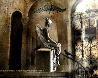 Gothic Angel Art Photo, Surreal Sad Mourning Angel Art, Sad Angel Sorrow, Gargoyle Ravens, Gothic Photography, Surreal Gothic Gargoyle Angel