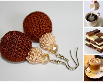 Coffee with milk -  brown  earrings made of two different size hand - crocheted and  crystal beads