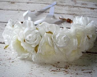 Weddings, Wedding Accessories, Bridal Headpiece, Flower Crown, Flower Headband, White, Hair Accessories - LOLA