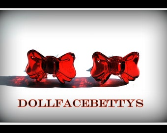 Retro Red Bow Earrings....  Free U.S. Shipping