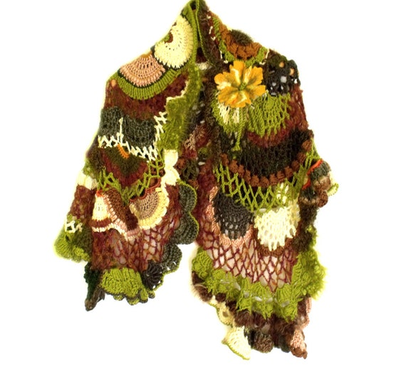 Freeform crochet scarf boho shawl capelet stole autumn colors