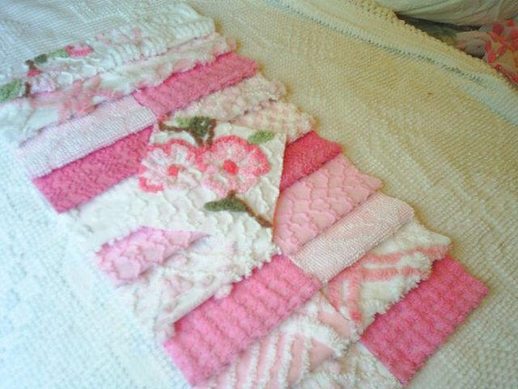 Vintage Pink Chenille Bedspread Squares - 21-6 inch
