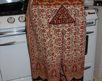 "Hippie Pants - 38"" long - Hips 48""  - Red  Elephant Design - one size fits most"