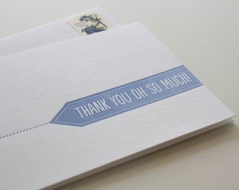 Letterpress Thank You Card - Thank You Flag
