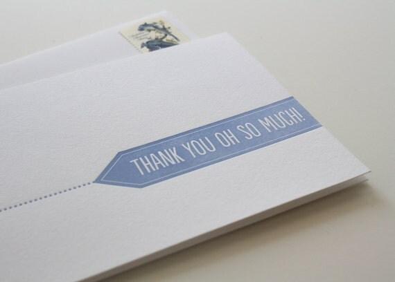 Letterpress Thank You Card - Thank You Flag