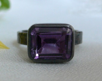 Blackened Silver and Faceted Amethyst Hammered Ring - Size 5 1/2