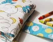 Crayon Wallet - Organic Vintage Rocket Edition - A Montessori and Waldorf Inspired Travel Toy for Self Guided Art