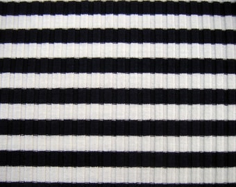 1 yard Navy & White Striped Knit Fabric
