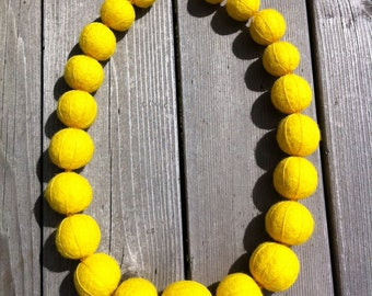 Felted Wool Necklace - Embossed Chunky Lemon