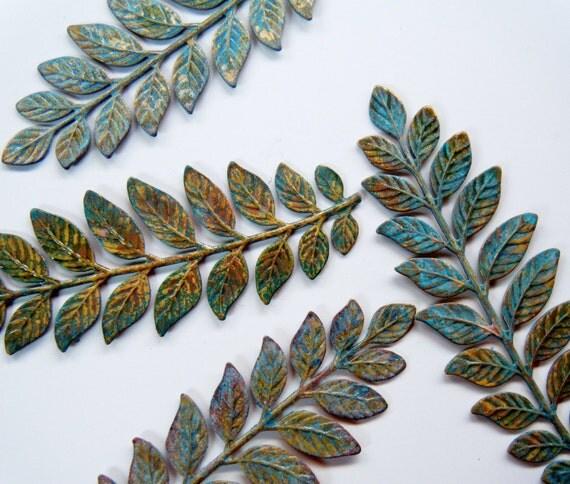 Verdigris Brass Branch Stamping 1 Branch No Holes