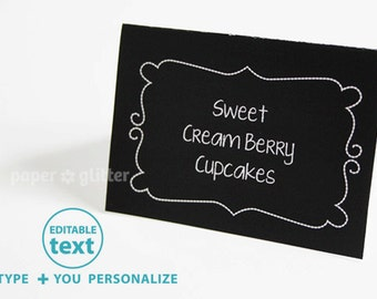 Party Cards in Chalkboard Art Poster Paper Printable - Editable Text Printable PDF