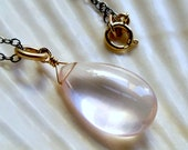 Spring jewelry - Light pastel pink rose quartz smooth AAA briolette solitaire necklace - sterling silver 14k gold filled handmade jewelry