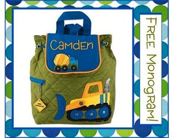 36 Fonts- Toddler CONSTRUCTION TRUCKS Smaller Personalized Quilted Backpack- Preschool/ Day Care/ Diaper Bag,  Blue/ Green