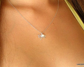 Dragonfly Necklace , Silver  Dragonfly Charm , Pearl  Necklace , Sterling Silver Necklace , Modern , Everyday Jewelry