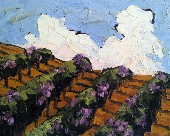 California LANDSCAPE VINEYARD Impressionist Oil Painting WINERY Hillside Grapevines Lynne French 11x14