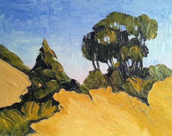 Impressionist Landscape SUMMER HILLSIDES  Lynne French o/c Art 11x14 ORIGINAL Painting