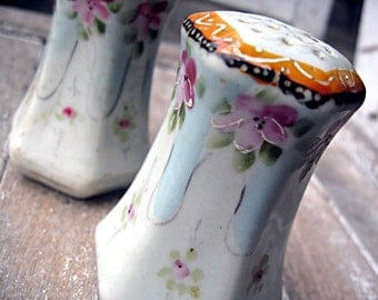 Vintage porcelain shakers, hand painted Japan, fancy salt and pepper shakers, made in Japan shakers, hand painted shakers, pretty shakers