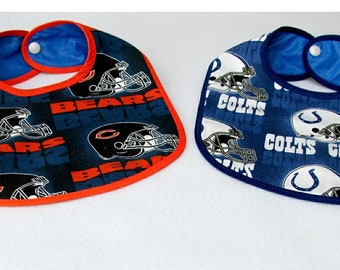 Baby Bib NFL Colts or Bears Licensed Fabric 0 to 12 months