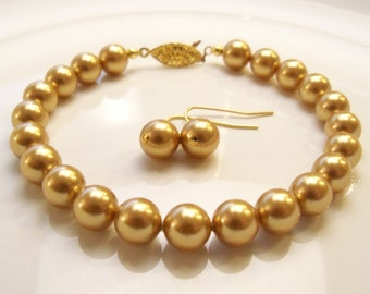 Swarovski antiqued gold pearl bracelet and earring set 8mm round pearls