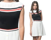 60s Dress Striped Mod Mini Black White 1960s Stripe Twiggy Scooter Preppy Color Block Button Front Vintage Cap Sleeve MiniDress Small Medium - ShopExile