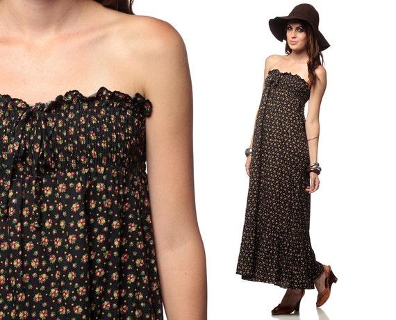 Hippie Maxi Dress Black Floral Boho 70s Smocked Strapless Bohemian Sundress Festival Summer Calico Sun Empire Waist Vintage Small Medium S M