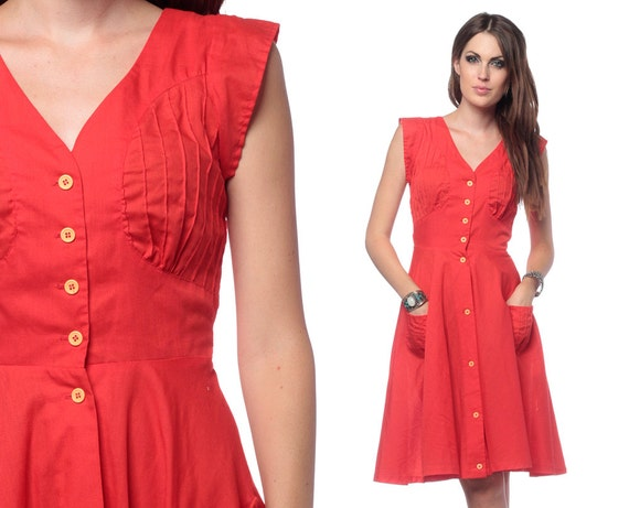 70s Dress Pintuck Red Midi Button Up Indie 1970s Boho Pockets Vintage Belted Cap Sleeve Retro High Waist Hipster Day Dress Extra Small XS
