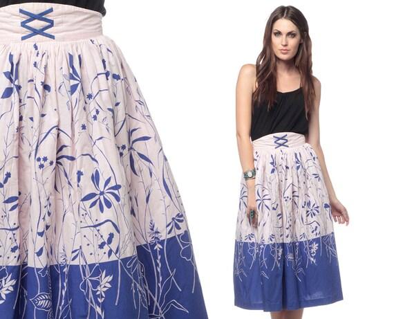 Floral Midi Skirt Boho Hippie 1970s Corset Vintage 70s Bohemian Blue Pink Color Block Cotton Retro High Waisted Full Skirt Small Medium