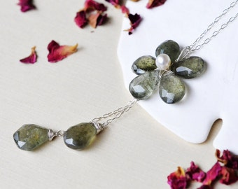 Moss Aquamarine Necklace Sterling Silver Wire Wrapped Flower - Faceted Pear Briolettes - Gemstone - Oxidize Upon Request - Natural