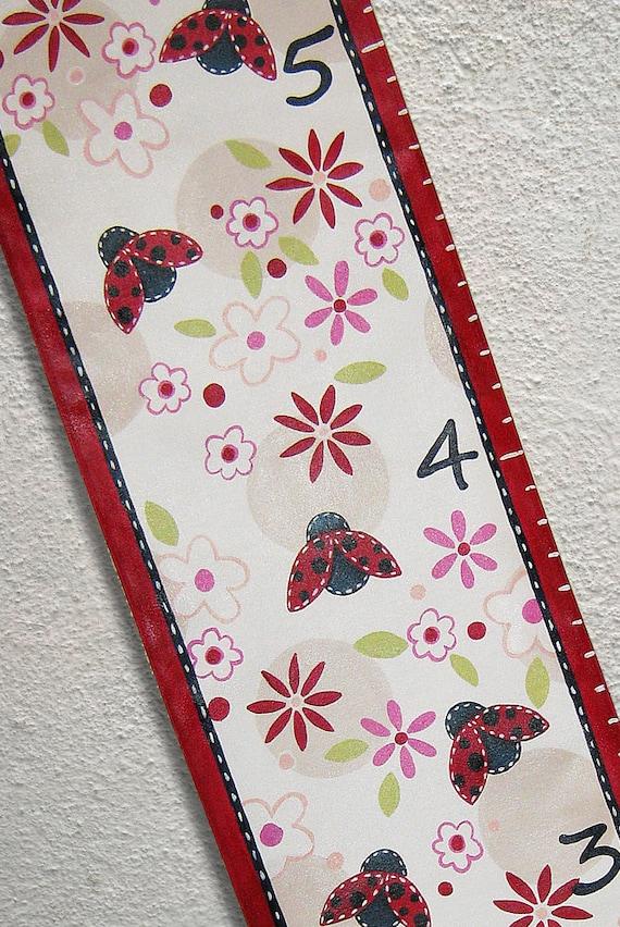 Custom Growth Chart Canvas Ladybugs Flowers