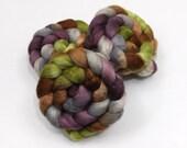 BFL Wool/ Silk Roving (75/25) - Hand Painted Spinning Fiber