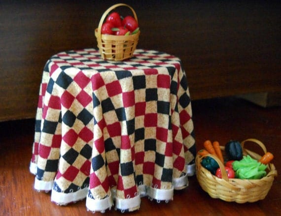 1/12 Scale (Dollhouse) Burgundy Black and Tan Check Cloth Covered Table with Satin Ribbon Trim - Indoor Fairy Garden