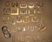 Used Belt Buckles - Shiny Gold/Brass tone - Lot of 20 with 7 loops- drsues4