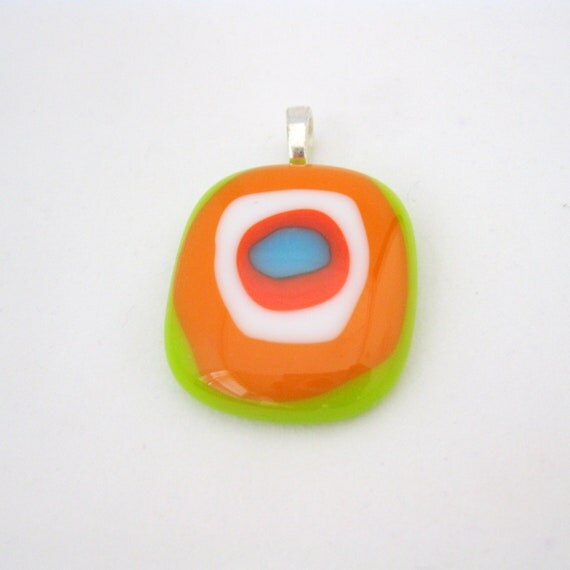 Tangerine Lime Swirl pendant - colorful retro necklace, orange, green, turquoise blue, bright colors, mod jewelry