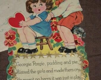 1930s Valentine, Used, Excellent Condition, Georgie Porgie, Pudding and Pie