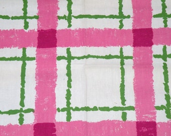1970 WILD Mod Print Decorator Fabric Pink and Green  35 X 24