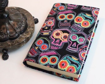Sugar Skulls Paperback Book Cover on Black Cotton, Alexander Henry Chuchulucos Fabric, Mass Market Size only