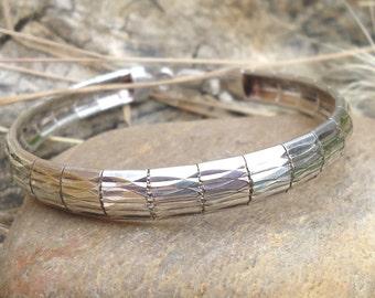 Silver Textured Bracelet - 1051