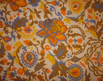Vintage Scrolling Floral  Wedgewood Blue, Orange 1 Yd