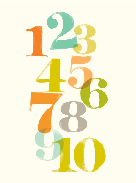 Numbers wall art, counting art for kids, nursery wall decor