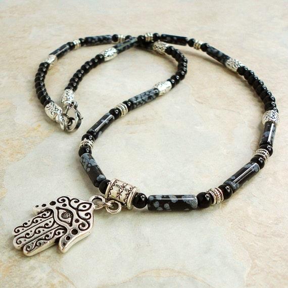 Mens Necklace, Hamsa Amulet with Snowflake Obsidian & Black Onyx, Handmade Jewelry