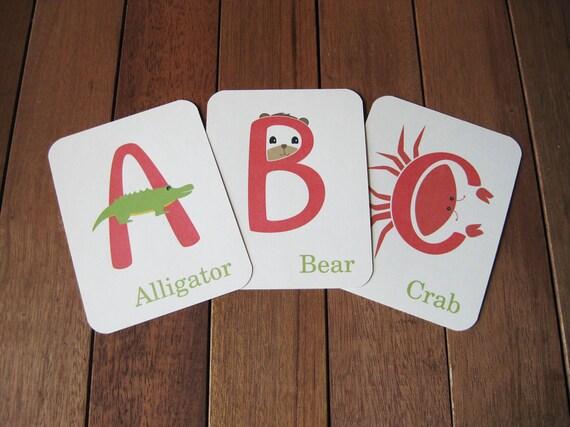 Illustrated Animal Alphabet Flashcards, Uppercase