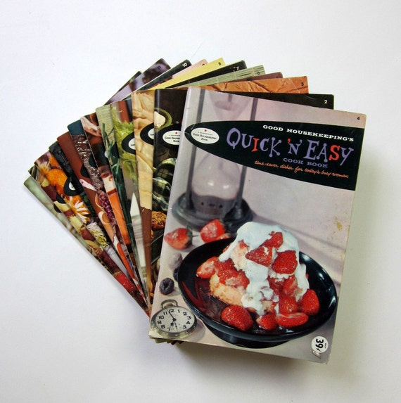 Sale // 1958 Good Housekeeping Paperback Cookbook Set of 12 / Easy Recipes for Suzy Homemaker